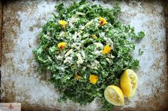 Kale Salad...finely shaved for different texture and very lemon-y dressing... cheese not to my taste