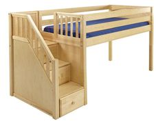 Maxtrix Kids Low Loft Bed with Stairs