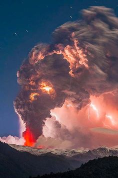 Caulle volcano eruption and thunderstorm