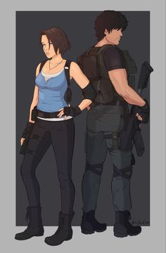 """""""I had to draw Jill and Carlos after playing the remake! I think they've become my new favs! Resident Evil Nemesis, Resident Evil Girl, Resident Evil 3 Remake, Star Trek Enterprise, Star Trek Voyager, Jill Valentine, Firefly Serenity, Animal Crossing, Photo Book"""