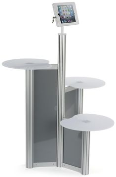 iPad Floor Stand w/ 3 Acrylic Tabletops, Integrated Power Supply, Locking - Silver