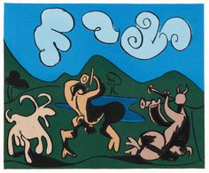 Two Satyrs and a Goat - Pablo Picasso (1962)