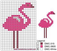 Tiny Cross Stitch, Cross Stitch Animals, Cross Stitch Designs, Cross Stitch Embroidery, Cross Stitch Patterns, Fair Isle Knitting Patterns, Knitting Blogs, Loom Patterns, Flamingo Craft