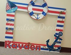 Nautical Themed photo Frame x assembly required (only the square part of it) all decorations will be adhere. Baby Shower Parties, Baby Shower Themes, Baby Boy Shower, Baby Shower Decorations, Shower Centerpieces, Sailor Birthday, Baby Birthday, Baby Shower Marinero, Sailor Baby Showers