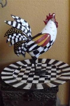 White Checks Hand Painted Rooster Chicken Checkered Very Whimsical Mackenz. Black White Checks Hand Painted Rooster Chicken Checkered Very Whi. Whimsical Painted Furniture, Hand Painted Furniture, Funky Furniture, Mackenzie Childs Furniture, Mackenzie Childs Inspired, Mckenzie And Childs, Rooster Decor, Chicken Art, Chickens And Roosters