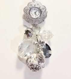 Crystal Clear Bauble Watch Necklace Style