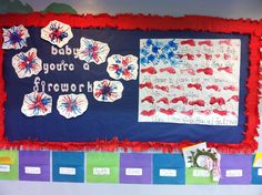 My Fourth of July preschool classroom bulletin board- hand prints & foot prints for the flag & handprint art for fireworks. Preschool Bulletin, Classroom Bulletin Boards, Daycare Crafts, Preschool Crafts, Kids Crafts, Preschool Prep, Preschool Learning, Fourth Of July Quotes, 4th Of July