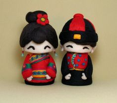 Chinese couple wool felted dolls