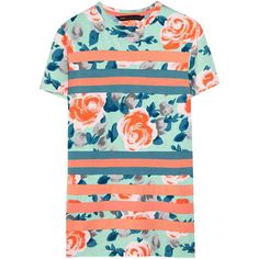 Marc by Marc Jacobs Jerrie floral-print cotton T-shirt ($150) ❤ liked on Polyvore featuring tops, t-shirts, shirts, dresses, tees, ribbed t shirt, striped floral shirt, floral shirt, sporty t shirt and striped shirt