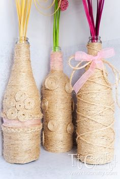 TitiCrafty: Upcycling Wine Bottles: DIY Twine Wrapped Decorative Vases