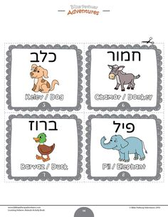 Hebrew animal flashcards / task cards for beginners and children (dog, donkey, duck, elephant) Bible Resources, Bible Activities, Animal Activities, Alphabet Activities, Kindergarten Activities, Preschool, Adventure Bible, Flashcards For Kids, Learn Hebrew