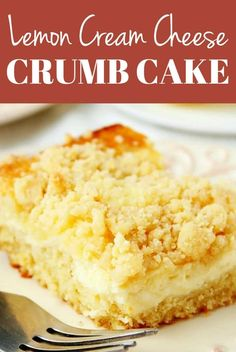cream cheese desserts Lemon Cream Cheese Crumb Cake - fluffy lemon cake with a creamy cheesecake layer and a crumb topping. Mini Desserts, Easy Desserts, Baking Desserts, Cream Cheese Coffee Cake, Cake With Cream Cheese, Lemon Cream Cheese Pie, Cream Cheese Desert, Lemon Cream Cake, Cream Cheese Muffins