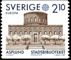 """Sweden """"Europa"""" 2kr10ö 1987, Sweden - Library by Asplund.  Slatko Jakús sc."""