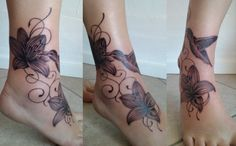 Humming bird and flower inked on ankle...
