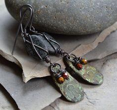 an interesting idea...you could paint the flat rock like a leaf...  Urban tribal earrings, keyhole earrings, Primitive metal earrings, Rustic ethnic earrings, Wire wrapped glass earrings, Czech glass metal