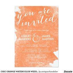 """CHIC ORANGE WATERCOLOR WEDDING INVITATION 5"""" X 7"""" INVITATION CARD"""