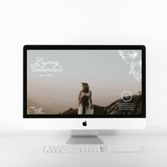 Brand logo and website design for adventurous traveling elopement photographer. With photography website, I like to keep a large full-size hero image at the top of the website. Since photography is your work, it's important to show it off. A slider feature was also added so that you could add up to 5 of your best photos in this space here. I decided to put the main menu navigation underneath for this reason as well. Font styles, photography website inspiration, web designer, branding, showit Website Design Layout, Website Design Inspiration, Website Designs, Web Design Projects, Web Design Trends, Photographer Logo, Main Menu, Boho Designs, Website Themes