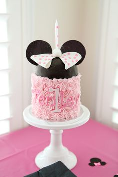 "I'm gonna have up attempt this fire annys birthday she loves Minnie mouse! Photo 1 of Mickey & Minnie Mouse party / Birthday ""Tenley's Birthday"" 1st Birthday Cakes, Minnie Birthday, Birthday Parties, Birthday Ideas, Bolo Minnie, Minnie Mouse Cake, Mickey Mouse, Pink Minnie, Dessert Oreo"