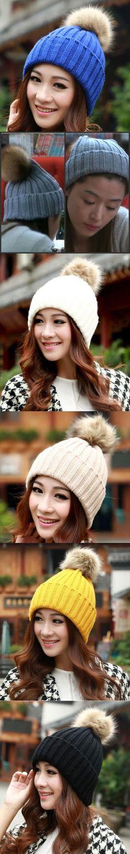 Marke 2016 Frauen Frühling Winter Hüte Mützen Strickmütze Crochet Hut Kaninchenfell Pompons Ear Schützen Beiläufige Kappe Chapeu Feminino $3.13