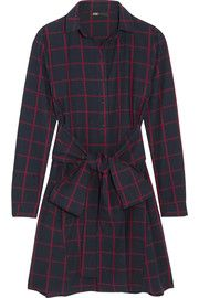 Checked cotton-flannel shirt dress