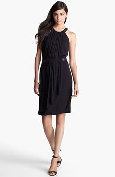 Laundry by Shelli Segal Faux Leather Trim Jersey Dress available at #Nordstrom