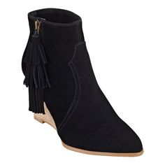 """As seen in the January/February issue of Women's Health..... A little fringe, a lot of style. Our Retrolook suede wedge booties are wedges that definitely wow! They're here and they're making a statement. Extra height. Extra details. This is a trend-right design that's definitely on fire. Side zip for easy on/off. Padded footbed for all-day comfort. Suede upper. Man-made lining and sole. Imported. 3 1/2"""" stacked wedge heels. Shoes for women."""