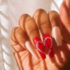 Summer Acrylic Nails Coffin Discover Heart Press on Nails Fake Nails Valentines Day Nails Red Aycrlic Nails, Dope Nails, Glue On Nails, Jamberry Nails, Talon Nails, Polish Nails, Nails On Fleek, Ongles Bling Bling, Bling Nails