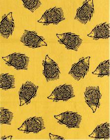 てぬぐい - (はりねずみ)黄