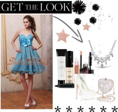 """Baby Blue Prom / Homecoming Dress With Sweetheart Beaded and Hand Made Flower Knee-length"" by promdress ❤ liked on Polyvore"