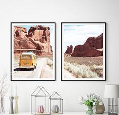 Retro Van Print, Desert Landscape, Travel Posters, Set of 2, Digital Downloads, Nature Art, Desert Road, Cactus Art Print, Photography, #354