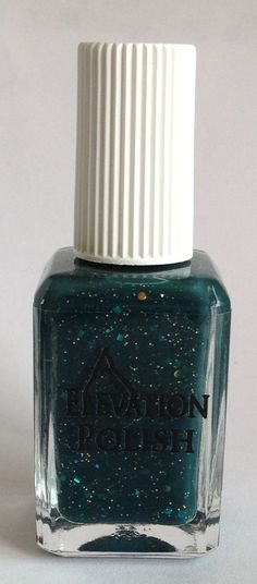 Name: Horta  Color Description: Dark Teal-ish Green with gold, bronze micro glitter combined with turquoise circles, hexes, squares and co...