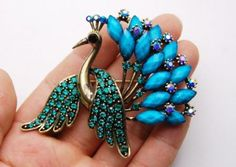 Amazon.com: Blue Turquoise Beaded Emerald Crystal Rhinestone Peacock Feather Custom Brooch: Jewelry