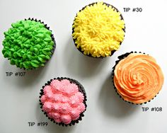 Cupcakes with wilton tips Buttercream Cupcakes, Cake Icing, Baking Cupcakes, Cupcake Recipes, Cupcake Cakes, Cup Cakes, Frosting Techniques, Frosting Tips, Cake Decorating Tips
