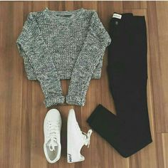 36 Inspiring Warm School Outfit Ideas - While the back to school season might be the keep going thing at the forefront of your thoughts since summer has quite recently begun, it's never too . Komplette Outfits, Teen Fashion Outfits, Cute Casual Outfits, Teenage Outfits, Outfits For Teens, Ootd Fashion, Stylish Outfits, Fall Fashion, Womens Fashion