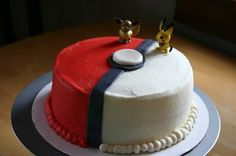 Jack's Pokeman Pokeball Cake - Pokemon Pokeball cake for my son's 7th Birthday. Very simple cake done in BC with MMF accents. Figurines are plastic toys. TFL. :)