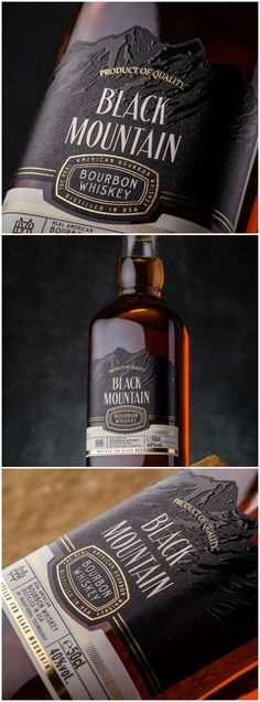 Traditional American Bourbon Whiskey Packaging Design Design Agency: 43oz.com - Design Studio Brand / Project Name: Black Mountain Location: Moldova Category: #Spirits #drinks World Brand & Packaging Design Society