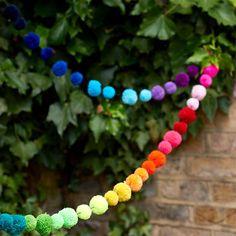 Rainbow Pompom Bunting Garland
