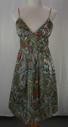 J CREW COLLECTION Dress Size 4 Adrienne Shimmering Cellophane Paisley Green