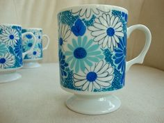 Groovy Blue Floral Coffee Cups