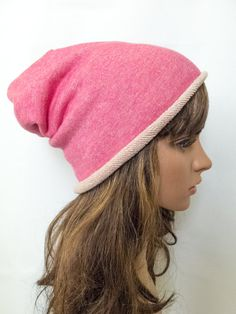 Womens beanie hat pink bad hair day female slouchy by Jousilook
