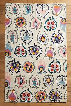 Anthropologie Jovana Rug This vibrant floor covering features vibrant embroidery that calls to mind ancient tapestry motifs. Meditation Mat, Picnic Mat, Crewel Embroidery, Embroidery Kits, Embroidery Books, Embroidery Alphabet, Embroidery Needles, Embroidery Designs, Embroidery Supplies