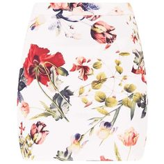 Blanka Cream Floral Mini Skirt (47 BRL) ❤ liked on Polyvore featuring skirts, mini skirts, bottoms, white short skirt, mini skirt, floral miniskirts, short skirts and floral print skirt