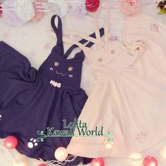 2 colors lolita kawaii cat big smile face suspender skirt lk15083108