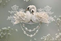 """Miniature hand painted natural silk and cotton beaded textile necklace-transformer 'PEARL SWANS' from the """"Wedding"""" Collection ....................................................................................... by Julia Gorina"""