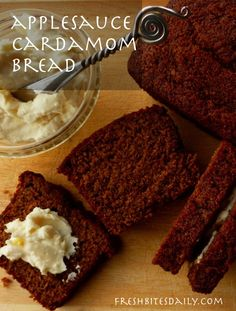 An applesauce cardamom bread, dark and richly-flavored