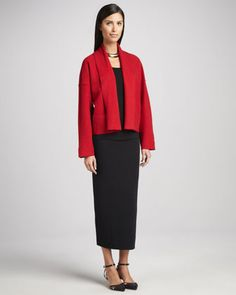 Boiled Wool Kimono Jacket, Organic Cotton Slim Tank &  Washable Wool Ankle-Length Pencil Skirt by Eileen Fisher at Neiman Marcus.