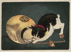 """Kunichika 国周 1877 """"Cat and Lantern"""" / """"猫と提灯"""""""