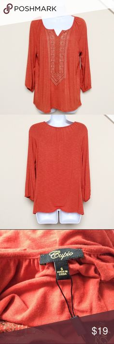 Boho Burnt Orange Cupio Top, NWT NWT boho style top from Cupio.  Color of this top is a burnt orange.  Size S. Cupio Tops Blouses