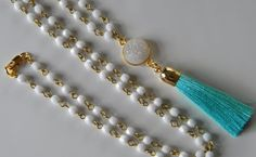 Long Czech White Glass Beaded Chain with Mint Blue-Green Tassel Necklace Boho Long Beaded  Druzy and Tassel Necklace