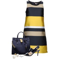 A fashion look from February 2013 featuring P. dresses, MICHAEL Michael Kors sandals y MICHAEL Michael Kors tote bags. Browse and shop related looks. Chic Outfits, Dress Outfits, Fashion Outfits, Womens Fashion, Fashion Tips, Fashion Trends, Modest Outfits, Modest Fashion, Dresses